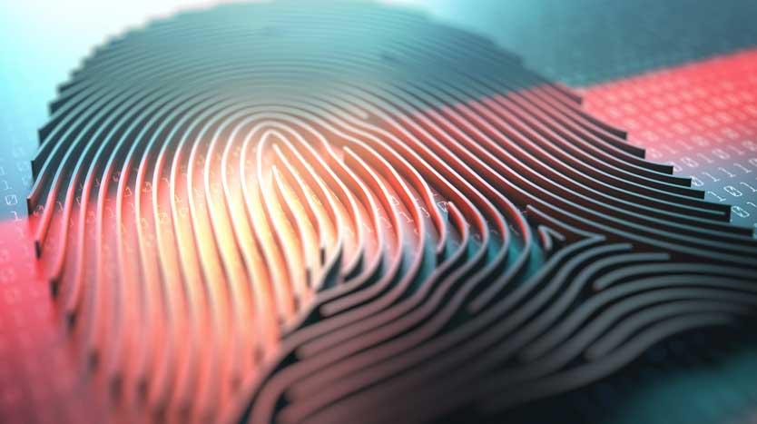 Illustration eines Fingerabdrucks mit Binärcode im Hintergrund
