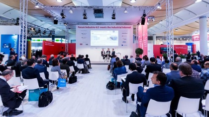 "Diskussion auf dem ""Forum Industrie 4.0 meets Industrial Internet""/ Hannover Messe 2018 in Deutschland"