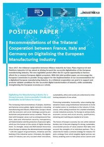 "Cover der Publikation ""Recommendations of the Trilateral Cooperation between France, Italy and Germany on Digitalising the European Manufacturing Industry"""