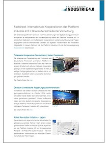 "Cover des Factsheets ""Internationale Kooperationen der Plattform Industrie 4.0"""