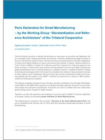 "Cover der Publikation ""Paris Declaration of the Trilateral Group for Smart Manufacturing"""