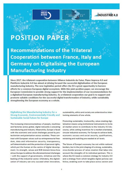 "Position Paper über ""Digitalising the European Manufacturing Industry"""