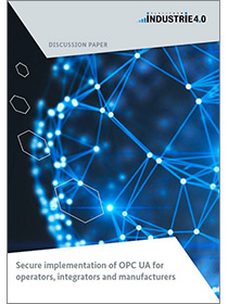 "Cover of the publication ""Secure implementation of OPC UA for operators, integrators and manufacturers"""