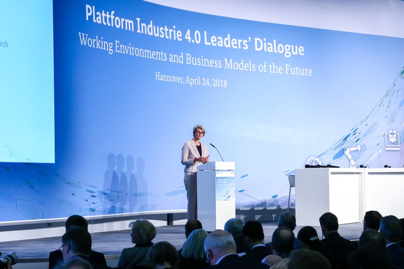 Minister Karliczek speaking at the Leaders' Dialogue at Hannover Messe 2018