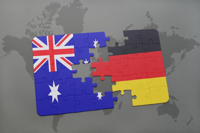 Puzzle pieces Australia and Germany