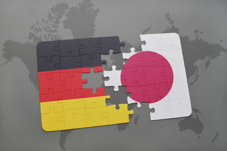 Puzzle pieces Japan and Germany