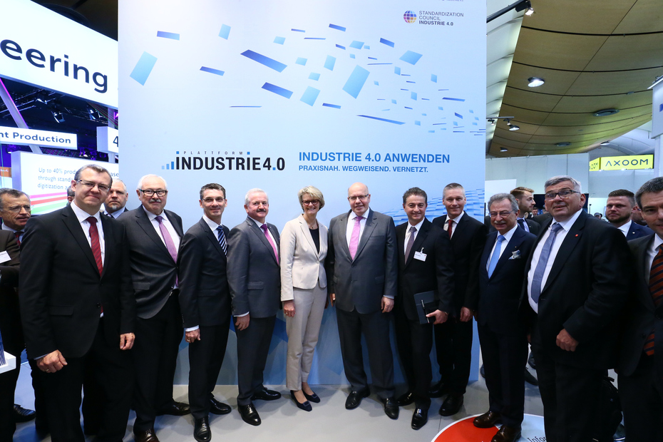 Heads of the Plattform Industrie 4.0 at the Hannover Messe 2018