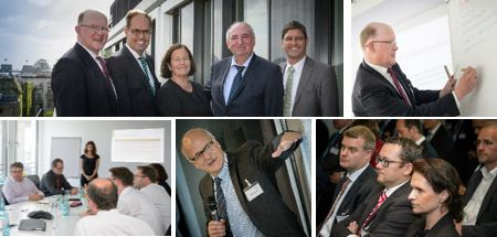 Photo collage: Employees of the Geschäftsstelle of the Plattform Industrie 4.0 in meeting situations