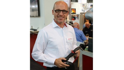 Product Manager Michael Loosen introduces a WiFi industrial tool and CONNECT at MOTEK 2017 in Stuttgart, Germany